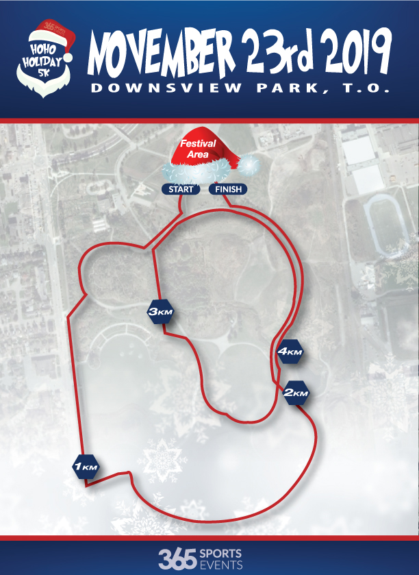 HoHoHoliday 5K Toronto Trail Map